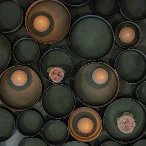 Contenitori in metallo anticato, set da 3
