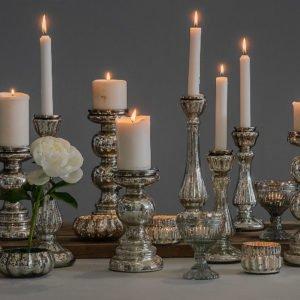 Candeliere in vetro mercurizzato con finitura argentata, setup 2