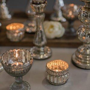 Candeliere in vetro mercurizzato con finitura argentata, setup