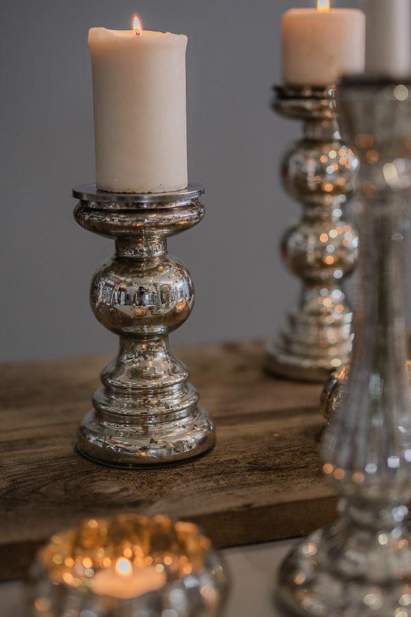 Candeliere in vetro mercurizzato, finitura argentata, sfera
