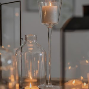 Lanterna a cilindro in vetro, base in metallo, per candele, taglia M