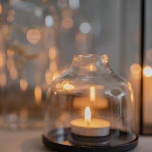 Lanterna a cilindro in vetro, base in metallo, per candele, taglia S