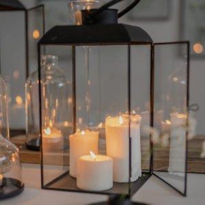 Lanterna in vetro, frame in metallo, taglia media